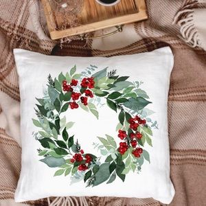 Other - 🆕 Christmas Wreath Cushion Pillow Cover Holiday
